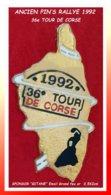 """ANCIEN PIN'S RALLYE -CORSE : 1992, Le 36em TOUR De CORSE Avec """"GITANE"""" Comme Sponsor (Logo Apparaissant) émail Grand Feu - Rallye"""