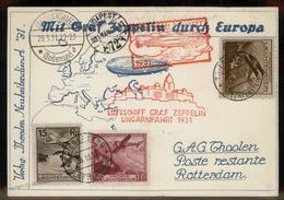 Liechtenstein 1931 Graf Zeppelin Budapest Hungary Si101 Cover Ungarnfahrt 93303 - Stamps