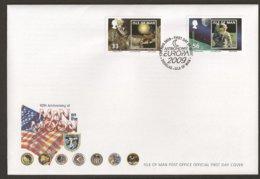 """MAN, Isle Of  - EUROPA 2009 - 40th ANNIVERSARY MAN On The MOON - """"ASTRONOMIA"""" - FDC De La SERIE De 2 V. Con LOGO EUROPA - Europa-CEPT"""