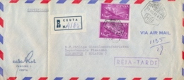 Spain 1961 Registered Airmail Cover From Ceuta To Netherlands With 2 X 7 Ptas And Handstamp REJA-TARDE - Briefe U. Dokumente