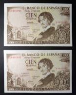 Spain 100 Pesetas 1965 P150 UNC. Correlative Numbers Letter A - [ 3] 1936-1975 : Regime Di Franco