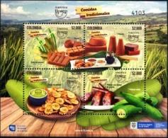 COLOMBIA CO051:54.19.10.09 [HF100-3094:3097-HF:6 ] América UPAEP 2019 Comidas Tradicionales - Souvenir Sheet New - Colombia