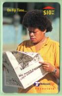 "Fiji - 1999 On Fiji Time - $10 ""Fiji Times"" - FIJ-157 - VFU - Fiji"