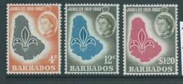 Barbados 1962 Boy Scout Jamboree Set Of 3 MNH - Barbados (...-1966)