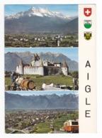 Vaud Aigle En 3 Vues En 1989 Vignes Vendanges Train Ou Funiculaire Au Dos Tampon Pierre Christinat Roche Et Timbre - VD Vaud
