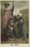 Militaria Patriotique Dieu Protège La France LA FOI  Infirmière Soldat Drapeau  RV - Patriottiche