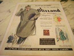 ANCIENNE  PUBLICITE IMPERMEABLE BLIZZAND  1955 - Vintage Clothes & Linen