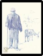 Reproduction D'une Aquarelle Berger Reproduction Of Watercolor Shepherd Reproduktion Aquarells Hirte Herder пастух - Acuarelas