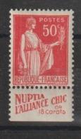France 283 Avec Bande Pub Nuptia ** MNH - Advertising
