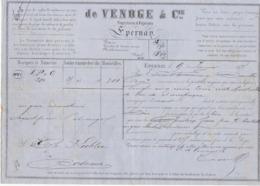 Lettre De Voiture De Venoge & Cie Epernay Marne 300 Bouteilles Vin De Champagne 1875 -> Bordeaux - Verkehr & Transport