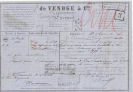 Lettre De Voiture De Venoge & Cie Epernay Marne 300 Bouteilles Vin  1875 -> Bordeaux - Verkehr & Transport