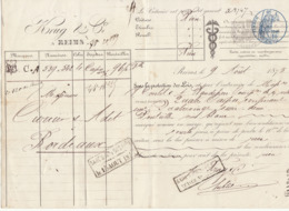 Lettre De Voiture Krug & Cie Reims Marne Bouteilles Vin Blanc 1875 -> Bordeaux - Verkehr & Transport