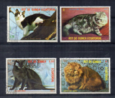 GUINEA EQUATORIALE - 1978 - Lotto 4 Francobolli Tematica Animali - Gatti - Usati - (FDC17476) - Guinée Equatoriale
