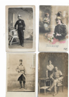 Cartes Postales Anciennes Militaires  4 Cartes - Personnages