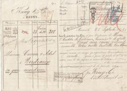Lettre De Voiture Krug & Cie Reims Marne 300 Bouteilles Vin Blanc 1875 -> Bordeaux - Trasporti