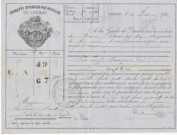 Lettre De Voiture Coutanceaux Aîné Saintes Charente 19 Barriques Eau De Vie 1875 -> Bordeaux - Verkehr & Transport