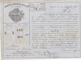 Lettre De Voiture Coutanceaux Aîné Saintes Charente 14 Barriques Eau De Vie  1875 -> Bordeaux - Verkehr & Transport