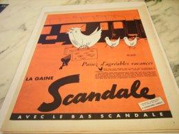 ANCIENNE PUBLICITE PASSEZ D AGREABLE VACANCE GAINE SCANDALE  1955 - Vintage Clothes & Linen