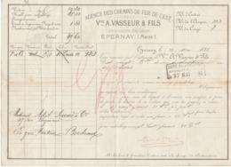 Lettre De Voiture Vve A. Vasseur & Fils Epernay Marne 120 Bouteilles Vin De Champagne  1881 -> Bordeaux - Verkehr & Transport