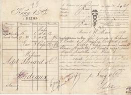 Lettre De Voiture Krug & Cie Reims Marne Bouteilles Vin Blanc 1881 -> Bordeaux - Verkehr & Transport