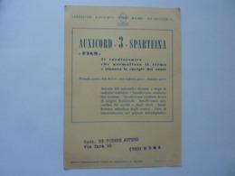 """Cartoncino Pubblicitario Spedito Per Posta  """"AUXICORD  3 SPARTENA Laboratori Biochimici FISM Milano"""" 1952 - Pubblicitari"""