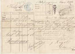 Lettre De Voiture Krug & Cie Reims Marne Bouteilles Vin Blanc 1879 -> Bordeaux - Verkehr & Transport