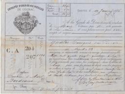 Lettre De Voiture Coutanceaux Aîné Saintes Charente 4 Barriques Eau De Vie  1876 -> Bordeaux - Verkehr & Transport