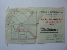 """Volantino Pubblicitario Su Carta Velina """"FERRARI & CATTANIA S.A. S. VITTORE OLONA  FIERA DI MILANO 1937"""" Strappo - Pubblicitari"""