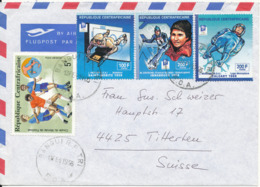 Central African Republic Air Mail Cover Sent To Switzerland 13-2-1995 Topic Stamps (Sport) - Central African Republic