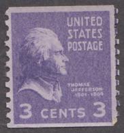 USA 1939. Scott 842. Rotary Press Coil 3c Thomas Jefferson. Perf 10 Vertically. MNH - Etats-Unis