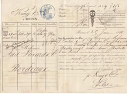 Lettre De Voiture Krug & Cie Reims Marne Bouteilles Vin Blanc 1880 -> Bordeaux - Verkehr & Transport