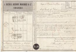 Lettre De Voiture Denis, Mounié & Cie, Cognac, Charente, Eau De Vie 1869 -> Bordeaux - Verkehr & Transport
