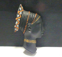 Grande Tête De Femme Africaine En Platre - African Art