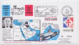 Porte-Avions Clémenceau Opération Salamandre Guerre D'Irak Iraq War Mitterrand FDC Tirage Limité Flamme Marine Militaire - Cachets Militaires A Partir De 1900 (hors Guerres)