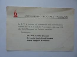 """Cartoncino Invito """"MOVIMENTO SOCIALE ITALIANO Manifestazione Palazzo Manassei"""" Anni '60 - Anuncios"""