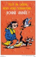 FRANQUIN Gaston Lagaffe Tous En Choeur Nous Vous Souhaitons BONNE ANNÉE. 2 Scans - Comics