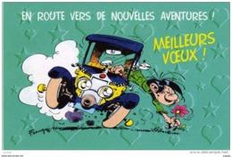 FRANQUIN Gaston Lagaffe En Route Pour De Nouvelles Aventures! MEILLEURS VOEUX . 2 Scans - Comics