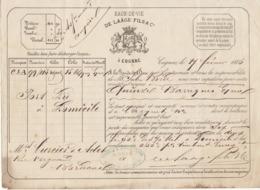 Lettre De Voiture De Laâge Fils & Co, Cognac, Charente, Eau De Vie 1866 -> Bordeaux - Verkehr & Transport