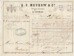 Lettre De Voiture A.C. Meukow & Co, Cognac, Charente, Eau De Vie 1866 -> Bordeaux - Verkehr & Transport