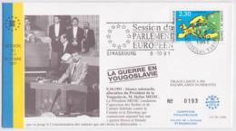 Guerre En Yougoslavie FDC Service Tirage Limité Numéro 193/400 Europa Strasbourg Conseil De L'Europe 1991 - 1991