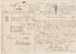 Lettre De Voiture Krug & Cie Reims Marne  Bouteilles Vin Blanc 1868 -> Bordeaux - Verkehr & Transport