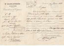Lettre De Voiture Julien Laferrière, Saintes, Charente, Eau De Vie 1868 -> Bordeaux - Verkehr & Transport