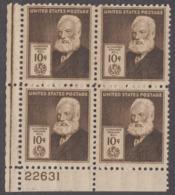 USA 1940. Sc 893. American Inventors. Pl Block Of 4, Alexander Graham Bell. MH - Ungebraucht