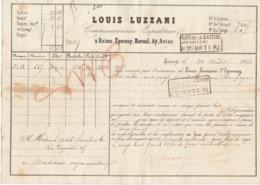 Lettre De Voiture Louis Luzzani Reims Epernay... Marne Bouteilles Vin De Champagne1882 -> Bordeaux - Verkehr & Transport