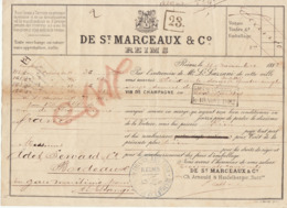 Lettre De Voiture De St Marceaux & Co Reims Marne Vin De Champagne 1882 -> Bordeaux - Verkehr & Transport
