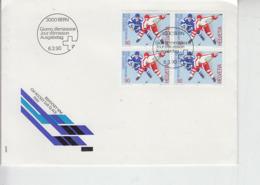 SVIZZERA 1990 -  - Unificato 1340 (quartina)  - Hockey - Hockey (su Ghiaccio)