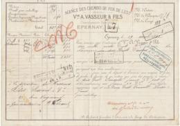 Lettre De Voiture Vve A. Vasseur & Fils Epernay Marne 2400 Bouteilles Vin De Champagne  1882 -> Bordeaux - Trasporti