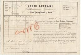Lettre De Voiture Louis Luzzani Reims Epernay... Marne Bouteilles Vin De Champagne1882 -> Bordeaux - Trasporti