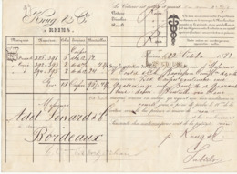 Lettre De Voiture Krug & Cie Reims Marne  Bouteilles Vin Blanc 1883 -> Bordeaux - Transport