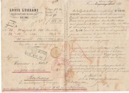 Lettre De Voiture Louis Luzzani Marne Bouteilles Vin Blanc De Champagne1870 -> Bordeaux - Trasporti